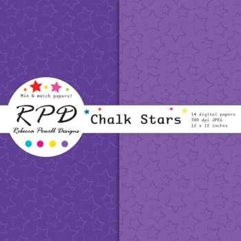 Hand drawn stars pattern, bright rainbow colours digital paper set/ backgrounds