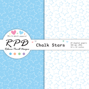 Hand drawn stars pattern, pastel colours & white digital paper set/ backgrounds
