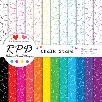 Hand drawn stars pattern, rainbow colours & white digital paper set/ backgrounds
