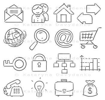 Hand-drawn web and business icons