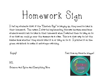 Hand in your Homework Sign