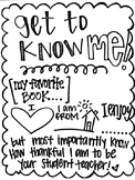 Hand-lettered Get To Know Me - Student Teacher Poster
