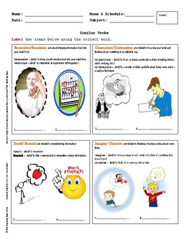 Hand out - Vocabulary, Similar Verbs