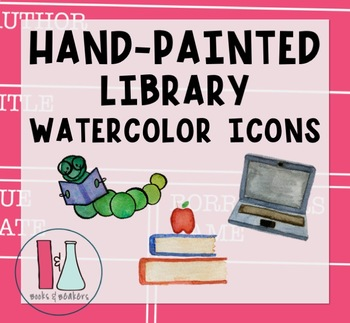 Hand-painted Library watercolor Icons