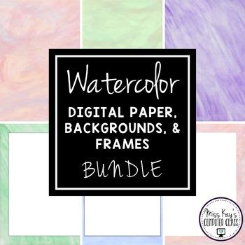 Hand-painted Watercolor Digital Paper BUNDLE