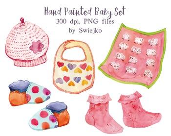 Hand painted baby set, birthday, baby girl, newborn