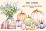 Hand painted watercolor clipart - Cozy Autumn, pumpkin, plaid pattern
