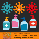 Hand sanitizer and germs clip art