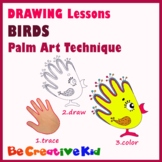 Art Lessons. Hand tracing drawing. Birds