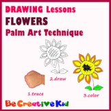 Art Lessons. Hand tracing drawing. Flowers
