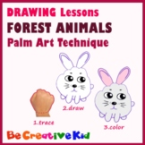 Art Lessons. Hand tracing drawing. Forest animals