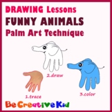Art Lessons. Hand tracing drawing. Funny animals