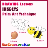 Art Lessons. Hand tracing drawing. Insects
