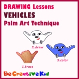 Art Lessons. Hand tracing drawing. Vehicles