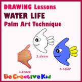 Art Lessons. Hand tracing drawing. Water life