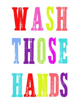 Hand washing poster bright colors