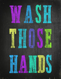 Hand washing poster chalkboard style