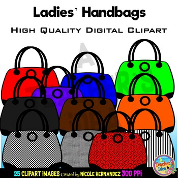 Handbags Clip Art for Personal and Commercial Use