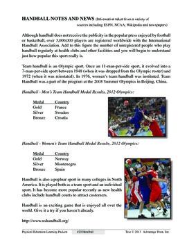 Handball: An Academic Learning Packet
