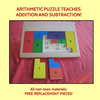 Handcrafted Wooden Arithmetic Puzzle teaches addition & su
