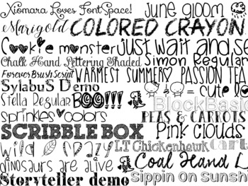 Handdrawn Handwriting Font Pack Themed Computer .TTF Font Pack - 27 Styles