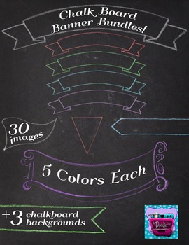 Color Chalk Banners and Frames Hand Drawn & Realistic Chalkboard Digi paper