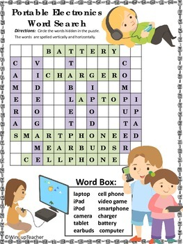 Portable Electronics Technology Word Search  * Easy