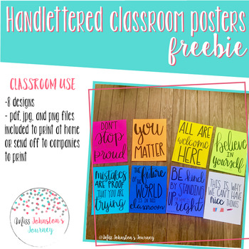 Handlettered Classroom Posters Freebie
