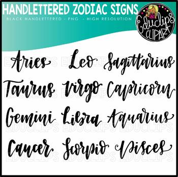 Handlettered Signs Of The Zodiac Clip Art Set (Educlips Clipart)
