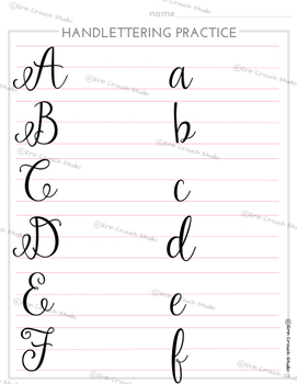 Handlettering Practice Worksheets - Script Alphabet & Numbers 5 Word Pages