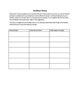 Handling Criticism Worksheet