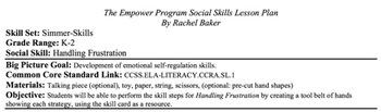 Handling Frustration - Social Skills Lesson Plan