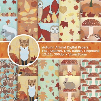 Handmade Autumn Animal Backgrounds - Fall Woodland Animal Digital Papers