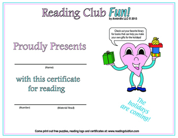 Handmade Holiday Gifts Reading Log and Certificate Set