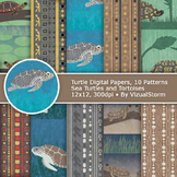 Handmade Tribal Turtle Patterns - Bokeh Marine Animal Digital Paper Backgrounds