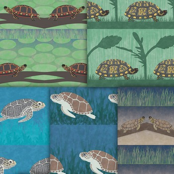 Handmade Tribal Turtle Patterns - Bokeh Marine Animal Digital Paper Backgrounds