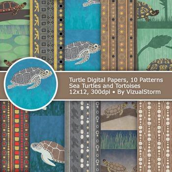 Handmade Tribal Turtle Patterns - Bokeh Marine Animal Digi