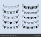 Handmade doodle bunting clip art, Birthday party banner, Black white flags dots