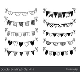 Handmade doodle bunting clip art, Birthday party banner, B