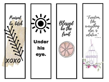 Handmaids Tale Quote Bookmarks rewards for students