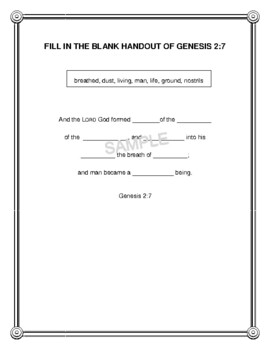 "Handout - ""And the Lord God formed man..."" Genesis 2:7. (NKJV) Print & Go!"