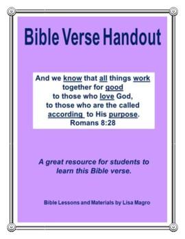 Bible Verse Handout of Romans 8:28 (NKJV) w/TAK  Print & Go!