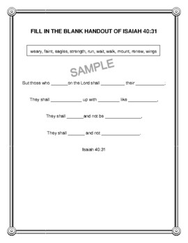 "Handout - ""But those who wait on the Lord..."" Isaiah 40:31.  Print & Go!"