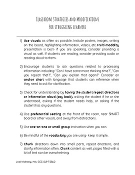 Handout- Classroom strategies and modifications for struggling learners