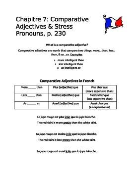 Handout: Comparative Adjectives in French- Plus...que, Moins...que, Aussi...que
