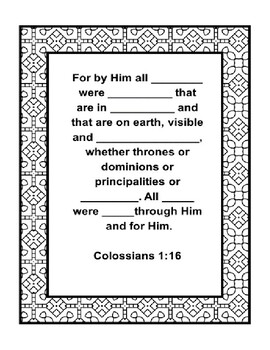 """Handout - """"For by Him all things were created..."""" Colossians 1:16. Print & Go!"""