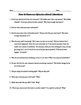 Handout: How to Have an Opinion about Literature