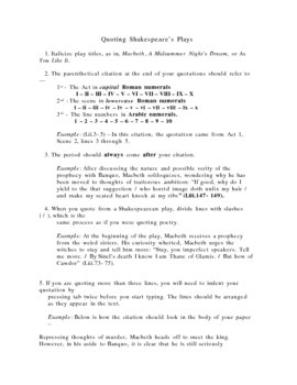 Handout - How to Quote Shakespeare's Plays / Poetic Citation