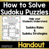Handout ... How to Solve Sudoku Puzzles