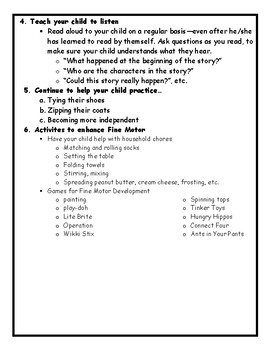 Handout: How to help your child at home